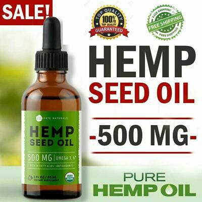 Organic Hemp Seed Oil Drops 500 mg Pain Relief Anti-Inflammatory Joint Support