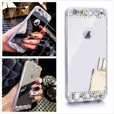 Bling Glitter Crystal Clear Diamond Mirror Case Covers for iPhone 7 / 8 Plus