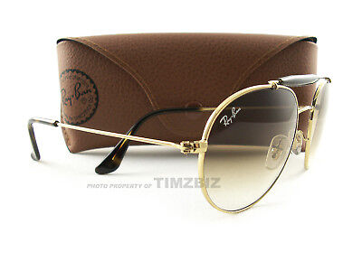 b20924f09be RAY BAN ROUND Aviator Sunglasses RB3540 001 51 Shiny Gold Brown ...