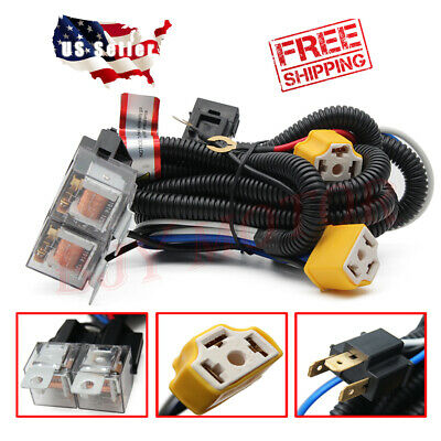 2-HEADLIGHT H4 HEADLAMP Light Bulb Ceramic Socket Plugs ... on