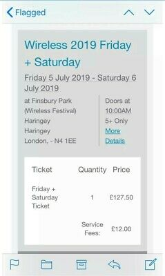 Wireless 2019 Tickets - Friday And Saturday Multi Day Ticket. Bank Transfer Only