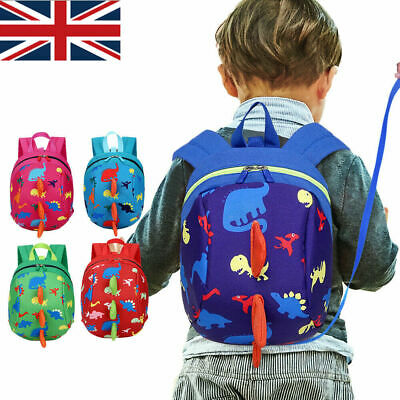 Boy Baby Toddler Kids Dinosaur Safety Harness Strap Bag Backpack with Reins UK