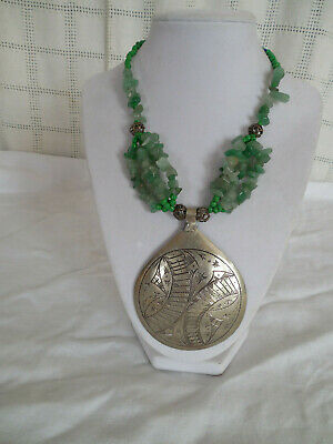 Large carved sterling silver pendant necklace, w/natural jade beads & glass bead