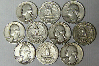 Lot of 10 Washington Silver Quarters From 1940s-1964 90% Silver Coins