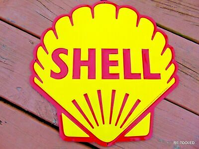 Shell Oil Gas Sign Gasoline Old Vintage 1960'S Advertising Antique Gas Pump Sign