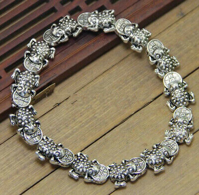 Old China tibet Silver Bracelet Amulet Fengshui Collection Frog statue