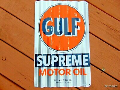 GULF MOTOR OIL SIGN GASOLINE OLD VINTAGE 1960s ADVERTISING ANTIQUE GAS PUMP SIGN