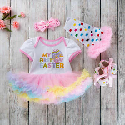 Baby Girls My 1st First Easter Egg Romper Tutu Dress +Headband Party Outfits Set