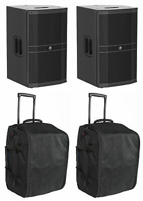 """2) Mackie DRM212-P 12"""" 1600w Pro Passive DJ PA Speakers+Rolling Carry Cases Bags"""
