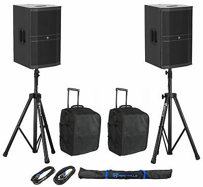 """(2) Mackie DRM212-P 12"""" 1600w DJ PA Speakers+Rolling Carry Bags+Stands+Cables"""