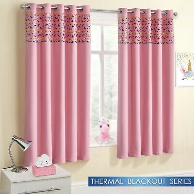 Childrens Blackout Unicorn Sparkle Ring Top Eyelet Shimmer Ready Made Curtains