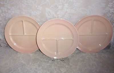 3 1950's Taylor Smith and Taylor Luray Pastels Sharon Pink 10 Inch Grill Plates