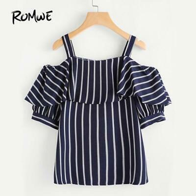 49ac1a77553 ROMWE Women Open Shoulder Layered Striped Top Summer Woman Cold Shoulder  Half S