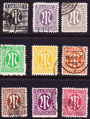 GERMANY/Allied Occupation-1945-46:Short sets of  A.M.G. issues Sc#s 3N1-3N17
