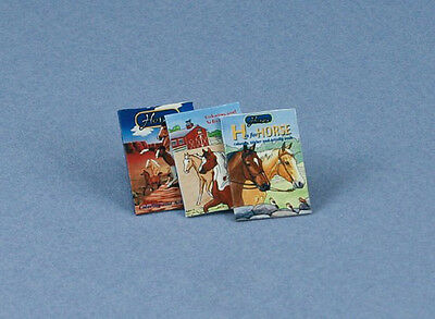 1:12 Scale Dollhouse Miniature Set of 3 Horse Books #ACH102