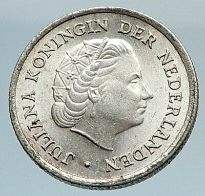1957 Netherlands QUEEN Juliana SILVER 1/10 Gulden Coin of ANTILLES i74811