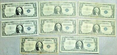 Eight United States One Dollar Silver Certificates/ 3-1957, 4-1957 B, 1-1935