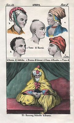 1840 - Bornu Africa costume people Negro Lithograph natives