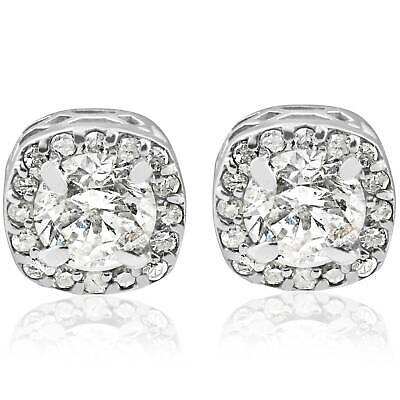 3/4Ct Round Diamond Cushion Halo Studs 14K White Gold Vintage Solitaire Accent