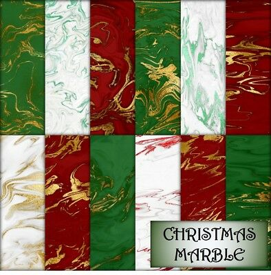 CHRISTMAS MARBLE SCRAPBOOK PAPER - 12 x A4 pages.