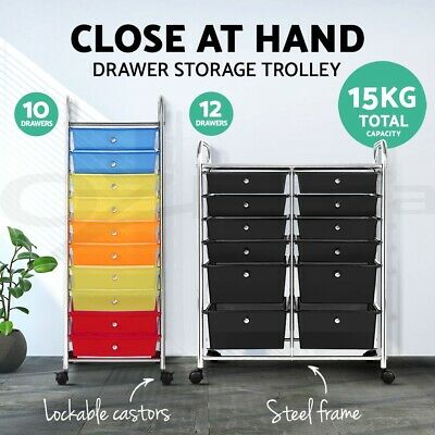 10 12 Drawer Kitchen Trolley Portable Rolling Storage Cart Shelves Rack Office