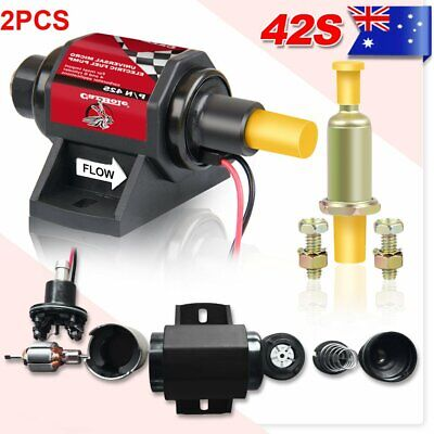 2X Electric Fuel Pump 12V Solid State 2 -3.5psi 106 LPH Petrol Facet Universal