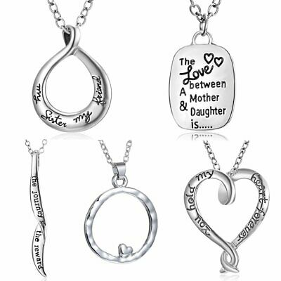 TO MY SON Letter Family Engraved Stainless Steel Necklace Mother's