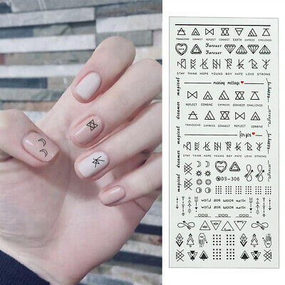 Nail Art Water Transfer Stickers Letter Decals Manicure DIY Tips Nails Decor