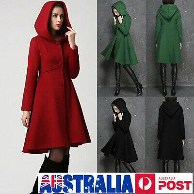 Women Winter Hooded Belted Trench Coat Warm Parka Overcoat Long Jacket Outwear