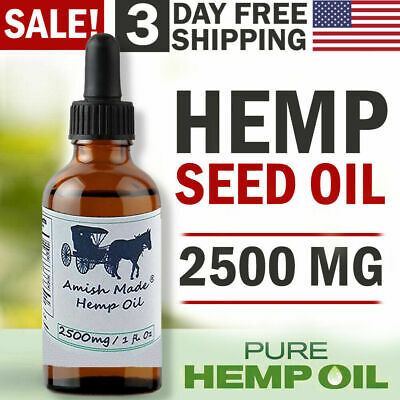 Hemp Oil Drops 2500 mg Pain Relief Reduce Stress Joint Support Sleep Aid