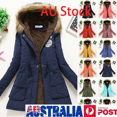 AU Womens Girls Winter Hooded Coat Long Slim Parka Jacket Overcoat Outwear HOT