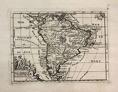 1735 - South America continent La Feuille engraving Ratelband map