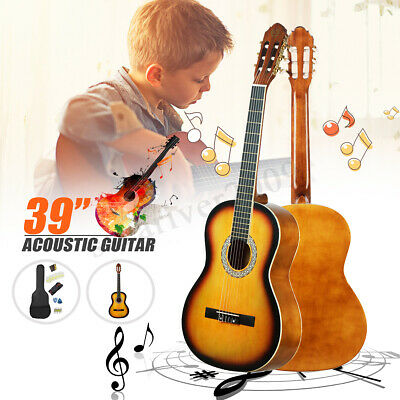 Mebite 39'' Inch Beginner Classical Acoustic Guitar Pack Package Sunset