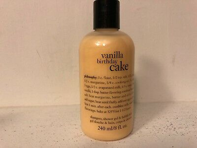 PHILOSOPHY VANILLA BIRTHDAY CAKE SHAMPOO SHOWER GEL BUBBLE BATH 8oz NEW