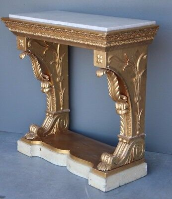 Antique original Empire hall table console original gilt carved 1820 marble top