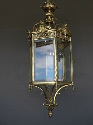 Big French antique solid brass hall lantern with cut glass panels ornate bronze