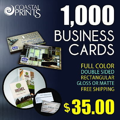 ➽ 1000 Full Color Business Cards - Glossy or Matte Coating ➽ FREE SHIPPING