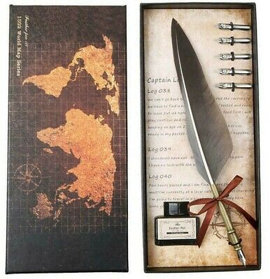 Retro Calligraphy Quill Feather Dip Pen Writing Ink Set Fountain Pens Stationery