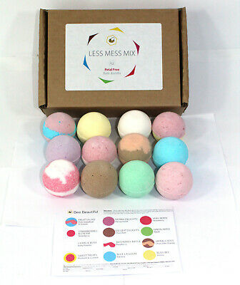 Bath Bombs mixed scents of 12 x 65g Round gift set Bee Beautiful reduced plastic