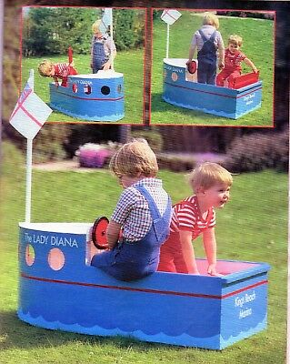 ~ Laminated Vintage Crafts Pattern For Making Child's Super Play-Boat ~