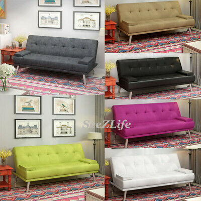 Luxury Faux Leather / Linen Fabric 3 Seater Sofa Bed Padded Seat Sofabed Settee