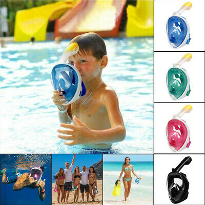 Adult Kids Full Face Mask Surface Swimming Goggle Diving Snorkel Scuba L/XL/S/XL