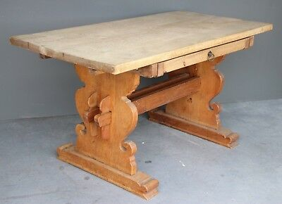 Antique Baronial solid oak refectory dining table ornate pedestals desk drawer
