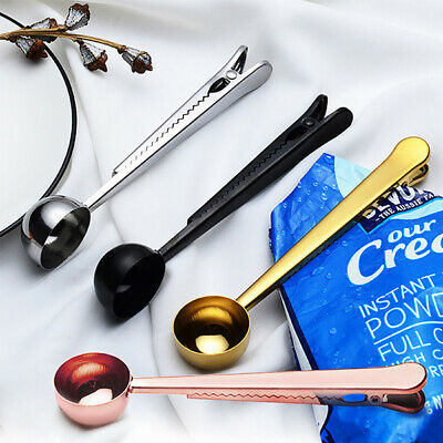 Creative Stainless Steel Ground Coffee Measuring Scoop Spoon With Bag Seal Clip