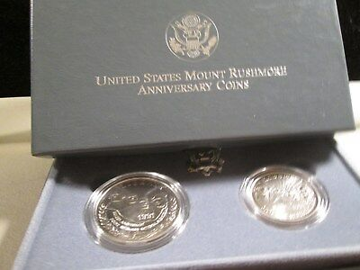 1991 Mount Rushmore 2 Coin Us Silver Commemorative Unc. Set  $1 & 50C  X1