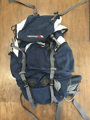 67ea9f9cb9 Trespass Levitate 65   Blue hiking backpack rucksack bag with Padded Straps