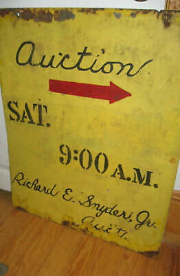 Awesome Antique Trade Sign Says Auction W/arrow Best Old Paint,lettering Aafa Nr