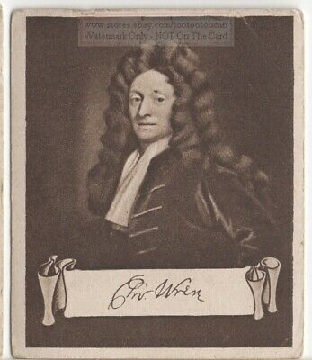 Sir Christopher Wren English Anatomist  Astronomer Architect 1920s Ad Trade Card