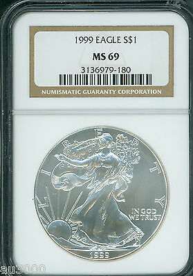 1999 American Silver Eagle S$1 ASE NGC MS69 MS-69 Premium Quality PQ+ !!!