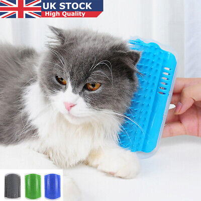 UK Pet Cat Dog Wall Corner Massage Self Groomer Rubber Comb Toy Brush Cleaner TR